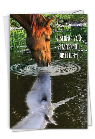 Creative Birthday Printed Greeting Card From NobleWorksCards.com - Aspirations - Horse