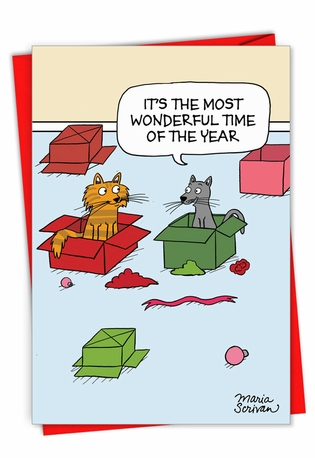 Hysterical Merry Christmas Greeting Card By Maria Scrivan From NobleWorksCards.com - Most Wonderful Time