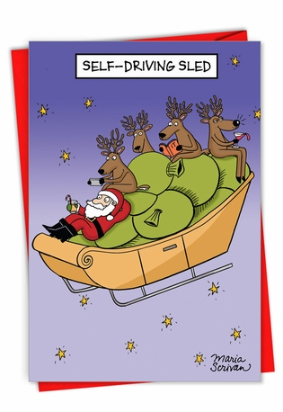 Hilarious Merry Christmas Printed Card By Maria Scrivan From NobleWorksCards.com - Self-Driving Sled