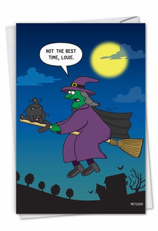 Hilarious Halloween Greeting Card By Scott Metzger From NobleWorksCards.com - Cat On Broom