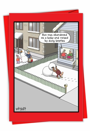 Hilarious Merry Christmas Printed Greeting Card By Tim Whyatt From NobleWorksCards.com - Dung Beetles