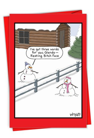 Hilarious Merry Christmas Printed Card By Tim Whyatt From NobleWorksCards.com - Resting Face