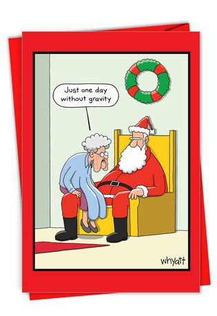 Hilarious Merry Christmas Greeting Card By Tim Whyatt From NobleWorksCards.com - Gravity Granny