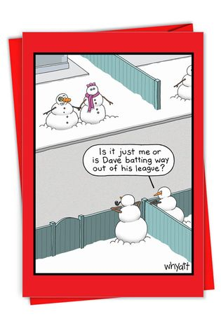Hysterical Merry Christmas Printed Card By Tim Whyatt From NobleWorksCards.com - Snowman League