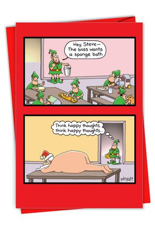 Hysterical Merry Christmas Printed Greeting Card By Tim Whyatt From NobleWorksCards.com - Sponge Bath
