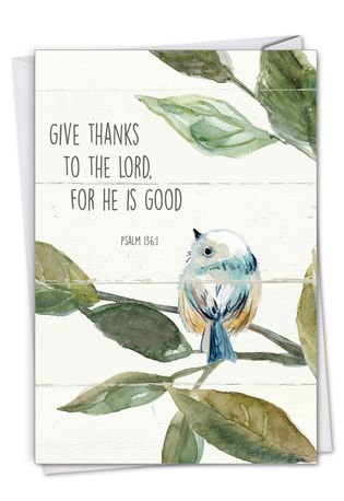 Stylish Thank You Paper Greeting Card From NobleWorksCards.com - Scripture Birds - Psalm 136:1