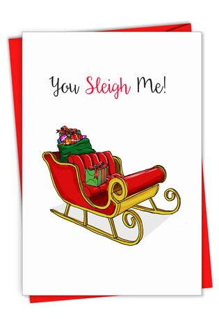 Creative Merry Christmas Printed Greeting Card From NobleWorksCards.com - Punny Holidays - Sleigh Me