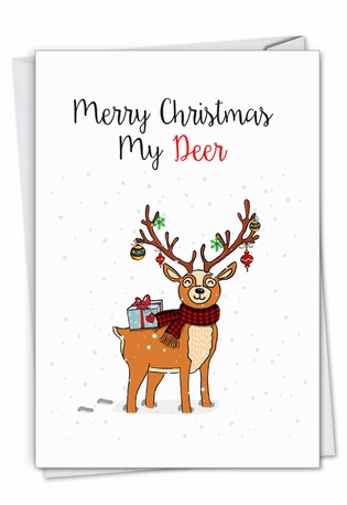 Creative Merry Christmas Greeting Card From NobleWorksCards.com - Punny Holidays - Deer