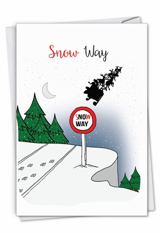 Stylish Merry Christmas Paper Card From NobleWorksCards.com - Punny Holidays - Sleigh