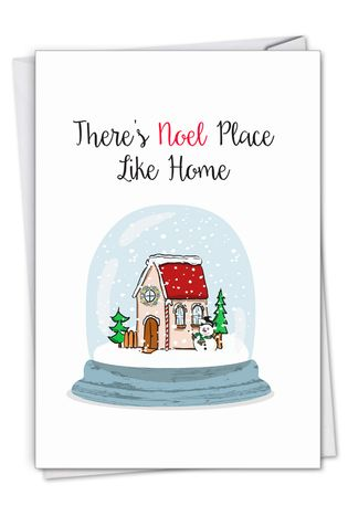 Stylish Merry Christmas Paper Greeting Card From NobleWorksCards.com - Punny Holidays - Snowglobe