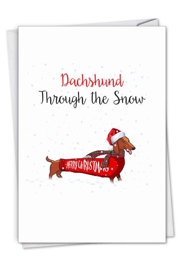 Stylish Merry Christmas Card From NobleWorksCards.com - Punny Holidays - Dachshund