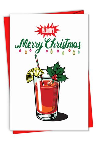 Creative Merry Christmas Printed Greeting Card From NobleWorksCards.com - Bloody Merry