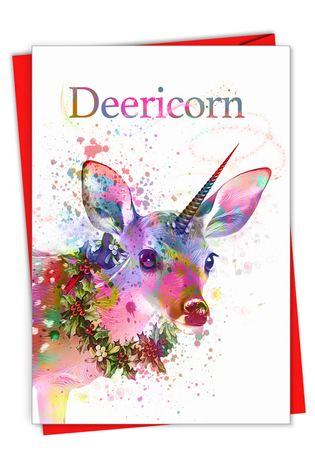 Creative Merry Christmas Greeting Card From NobleWorksCards.com - Deericorn