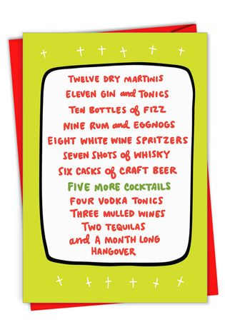 Hilarious Merry Christmas Printed Greeting Card By Angela Chick From NobleWorksCards.com - Twelve Days of Drinking