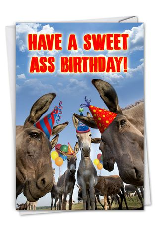 Hysterical Birthday Printed Card From NobleWorksCards.com - Sweet Ass