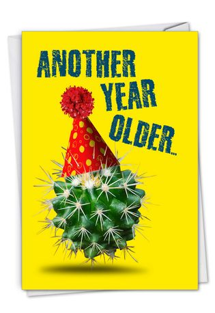 Funny Birthday Paper Greeting Card From NobleWorksCards.com - Cactus Celebration