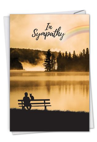 Creative Pet Sympathy Printed Greeting Card From NobleWorksCards.com - Sympathy Rainbow Cat