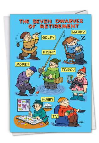 Hilarious Retirement Printed Card By Daniel Collins From NobleWorksCards.com - Seven Dwarves of Retirement