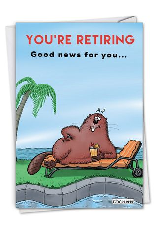 Humorous Retirement Paper Greeting Card By Jamie Charteris From NobleWorksCards.com - Dam Shame