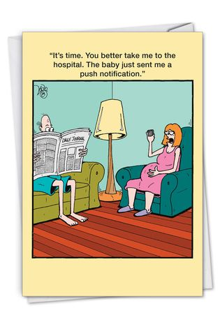Hysterical Baby Printed Card By Leigh Rubin From NobleWorksCards.com - Push Notification