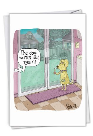 Hilarious Birthday Printed Card By Mike Shiell From NobleWorksCards.com - Dog Smoker