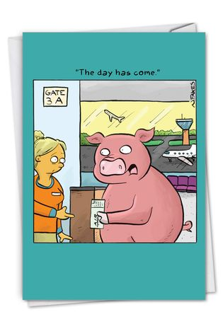 Hysterical Congratulations Printed Greeting Card By Nate Fakes From NobleWorksCards.com - When Pigs Fly
