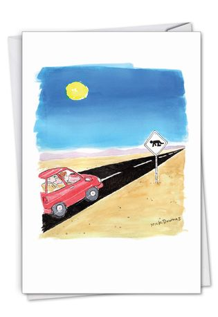 Funny Birthday Card By Nicholas Downes From NobleWorksCards.com - Desert Sign