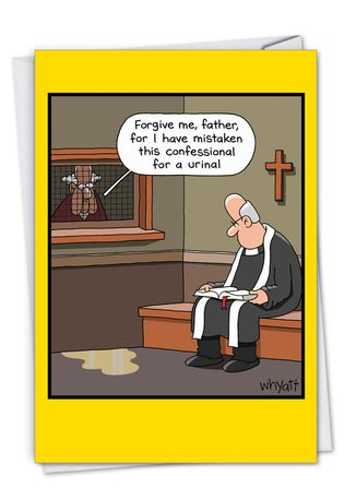 Humorous Birthday Card By Tim Whyatt From NobleWorksCards.com - Urinal Confession