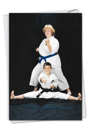 Funny Birthday Paper Greeting Card By Awkward Family Photos From NobleWorksCards.com - Karate Kid