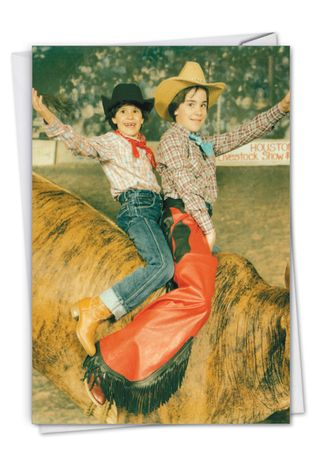 Hilarious Birthday Printed Greeting Card By Awkward Family Photos From NobleWorksCards.com - Bucking Bull
