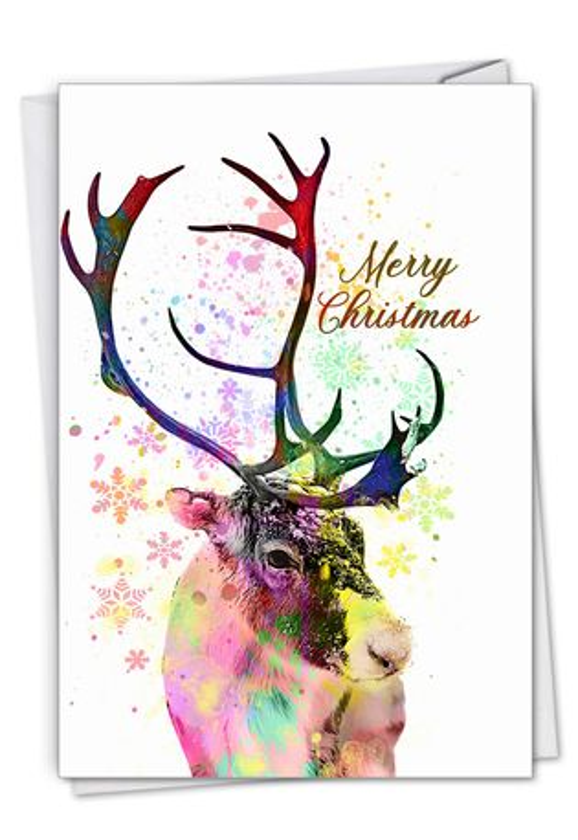 Creative Merry Christmas Greeting Card From NobleWorksCards.com - Funky Rainbow Reindeer - Profile