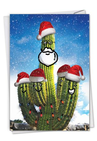 Creative Merry Christmas Printed Greeting Card From NobleWorksCards.com - Santa's Cactus - Beard