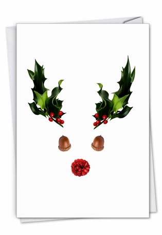 Creative Merry Christmas Greeting Card From NobleWorksCards.com - Abstract Reindeer - Acorn