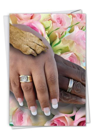 Hands And Dog Paw - People of Color: Funny Wedding Congratulations Paper Greeting Card