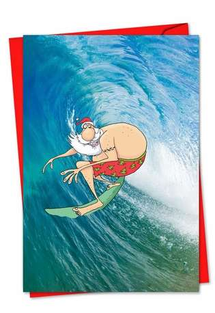 Creative Christmas Paper Greeting Card by Glenn McCoy from NobleWorksCards.com - Surfing Santa