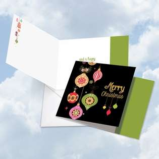 Stylish Christmas Square Paper Greeting Card from NobleWorksCards.com - Retro Groovy Greetings