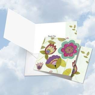 Creative Thank You Square Printed Card by Janet Tava from NobleWorksCards.com - Patterned Petals