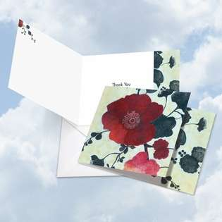 Stylish Thank You Square Printed Greeting Card by Janet Tava from NobleWorksCards.com - Heartfelt Blooms