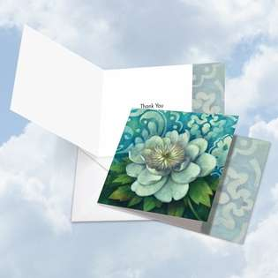 Stylish Thank You Square Printed Greeting Card by Elaine Lane from NobleWorksCards.com - Blue Magnolia