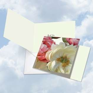 Stylish Thank You Square Printed Greeting Card by Carol Robinson from NobleWorksCards.com - Peony Passion