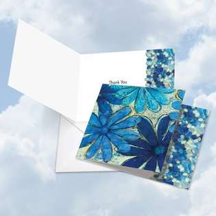 Stylish Thank You Square Greeting Card by Raymond Clearwater from NobleWorksCards.com - Blue Blooms
