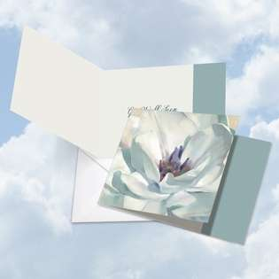 Stylish Get Well Square Printed Card by Carol Robinson from NobleWorksCards.com - Peaceful Petals