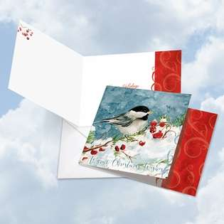 Creative Happy Holidays Square Paper Card by Carol Robinson from NobleWorksCards.com - Season's Tweets