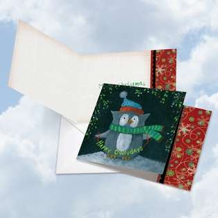 Stylish Christmas Square Paper Greeting Card by Carol Robinson from NobleWorksCards.com - Woodland Christmas - Owl