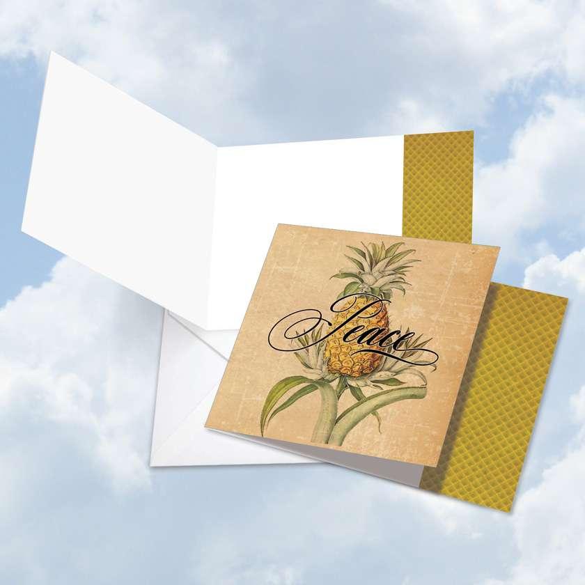 Pineapple Plenty Peace: Stylish Blank Square-Top Printed Card