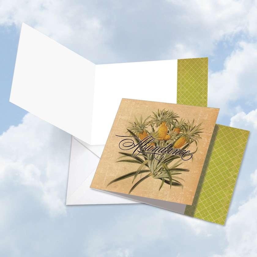 Creative Blank Square Paper Greeting Card from NobleWorksCards.com - Pineapple Plenty Abundance