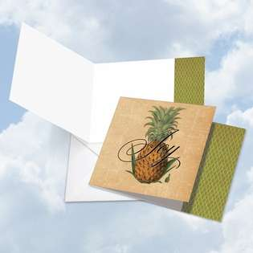 Stylish Blank Square Printed Greeting Card from NobleWorksCards.com - Pineapple Plenty Joy