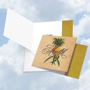 Stylish Get Well Square Printed Card from NobleWorksCards.com - Pineapple Plenty Health