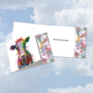 Stylish Thank You Square-Top Paper Card By World Art Group From NobleWorksCards.com - Funky Rainbow Wildlife-Cow