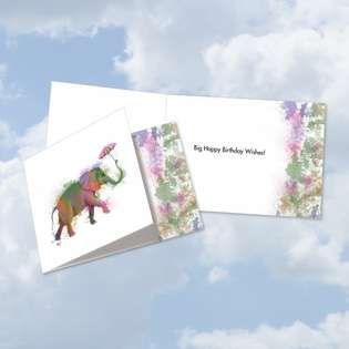 Creative Birthday Square-Top Printed Card By World Art Group From NobleWorksCards.com - Funky Rainbow Wildlife-Elephant